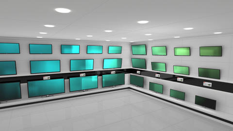 Televisions at an electronics store Animation