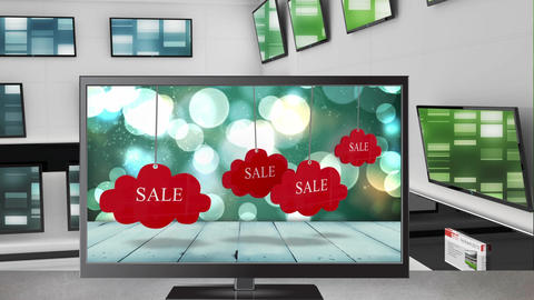 Television with sale tags on its screen Animation