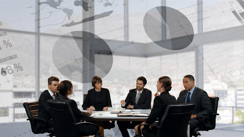 Business men and women having a meeting Animation