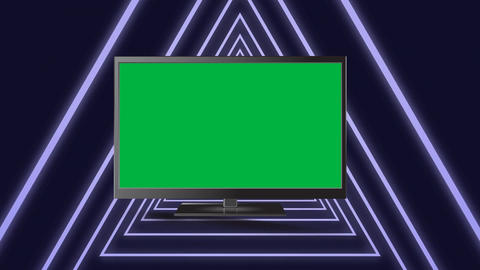 Television in a triangle tunnel Animation