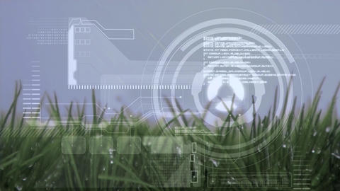 Digital composite of grass field and gear Animation