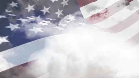 American flag waving against a cloudy sky Animation