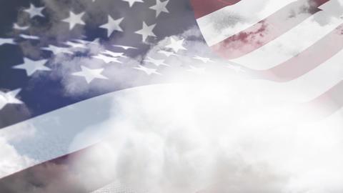 American flag waving against a cloudy sky Animation