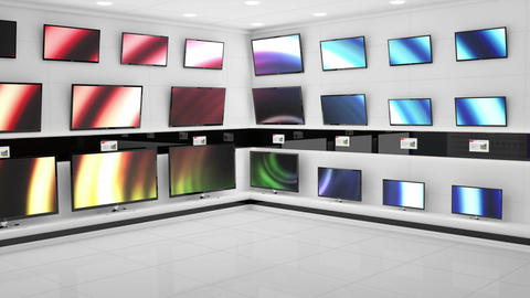 Displayed monitors showing flashes of different coloured light effects Animation