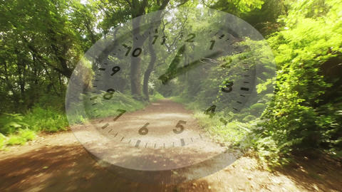 Forest trail with a running clock Animation