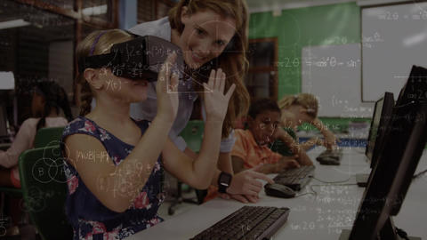 Girl wearing a virtual headset while an adult is guiding her Animation