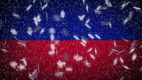 Haiti flag falling snow loopable, New Year and Christmas background, loop Animation