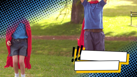 Boy and girl playing superhero at a park Animation