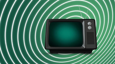 Television on spiralling background Animation