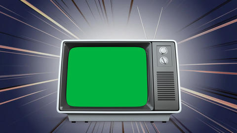 Television with a green screen and shinning effects Animation