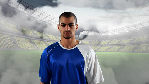 Football player with a serious expression Animation