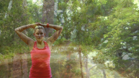 Woman working out in the woods Animation