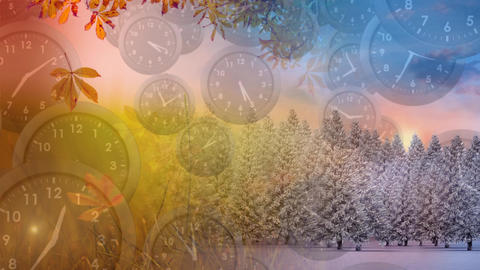 Clocks falling and different seasons Animation