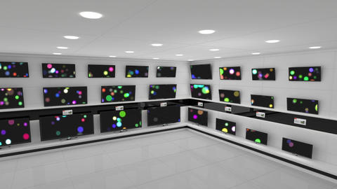 Flat screen televisions with bokeh lights on their screens Animation
