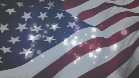 American flag and twinkling lights Animation