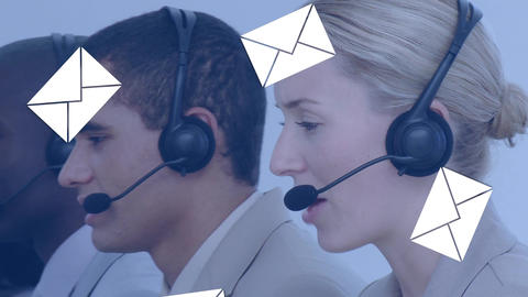 Group of call centre agents talking to clients Animation