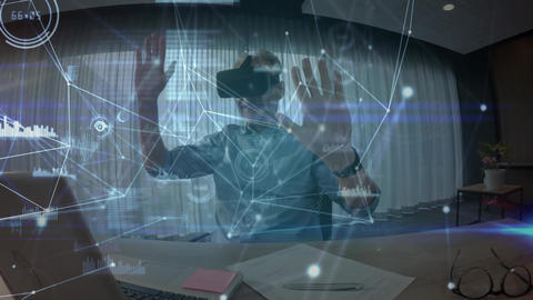 Man wearing a virtual reality headset while swiping his hands in the air Animation