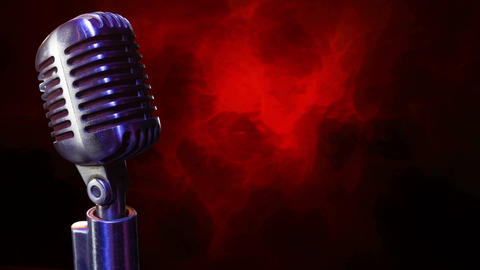 Microphone on a red and black background Animation