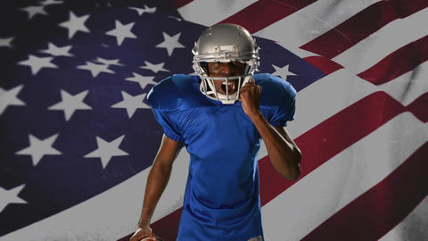 American football athlete with serious expression Animation