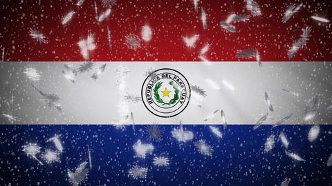 Paraguay flag falling snow loopable, New Year and Christmas background, loop Animation