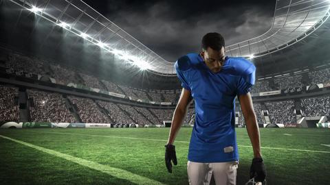 American football player putting on his helmet Animation