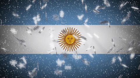 Argentina flag falling snow loopable, New Year and Christmas background, loop Animation