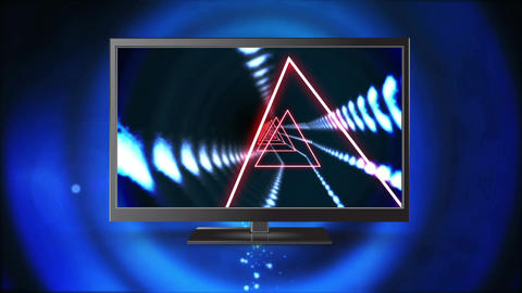 Flat screen television with triangle effects on its screen Animation