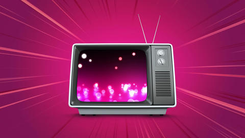 Television with shiny glowing marbles Animation