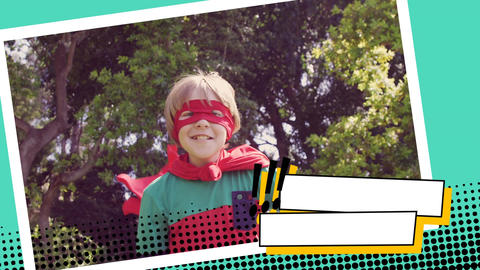 Boy wearing a superhero costume at a park Animation