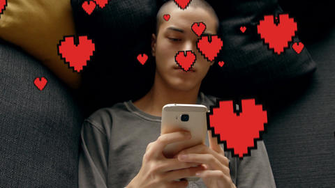 Bald guy lying in bed texting 4k Animation