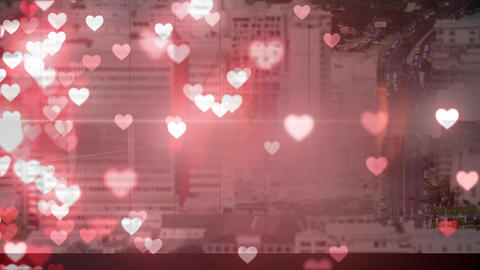 Cityscape with hearts Animation