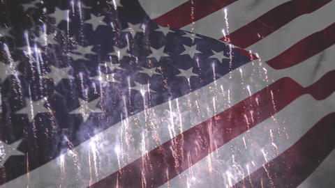 American flag with fireworks Animation