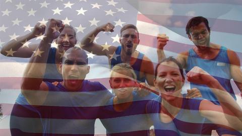 American athletes celebrating Animation