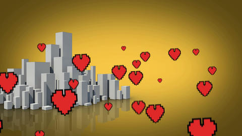 Digital hearts flying over a city Animation