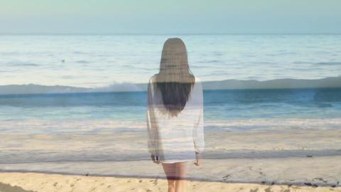 Woman walking towards the beach 4k Animation