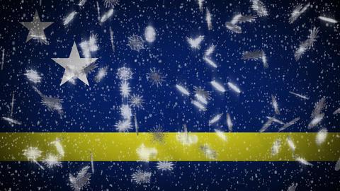 Snowfall On Background Of Flags Of Random Countries 3 Loop 2