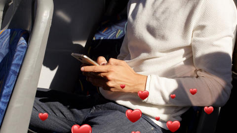 Man seated on a bus texting Animation