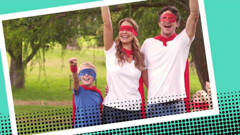 Happy family wearing superhero costumes Animation