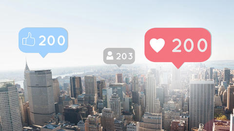 Social media icons and numbers 4k Animation