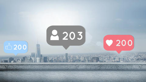 City with increasing social media popularity 4k Animation