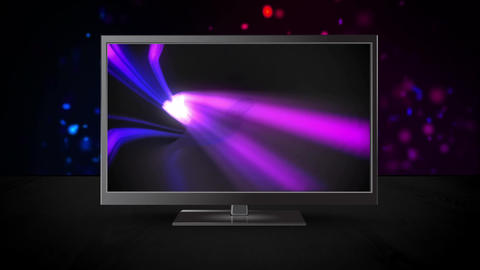 Television with purple abstract background on its screen Animation