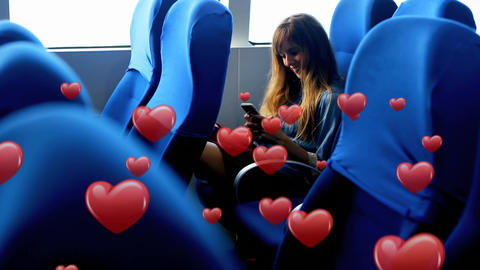 Woman sitting in a bus while texting 4k Animation