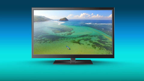 Television with HD view of a beach Animation