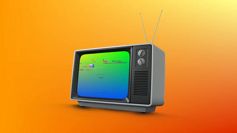 Television with a colourful screen Animation