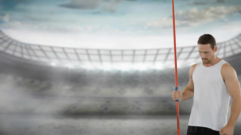 Man preparing to throw a javelin 4k Animation