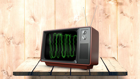 Television with green static electricity Animation