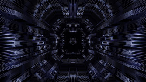 atmospheric wire-frame design tunnel corridor with lights and shadows 3d Animation