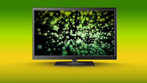 Flat screen television with dancing lights on its screen Animation