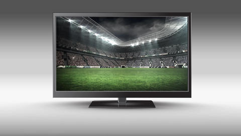 Flat screen TV with a football stadium on its screen Animation