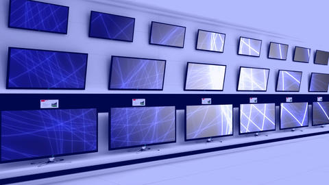 Televisions displayed on a wall Animation